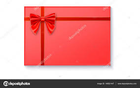 big present bow gift box with big bow and ribbon on white background stock