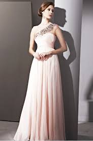 glamorous clothing couture light pink one shoulder chiffon prom dress 2810203