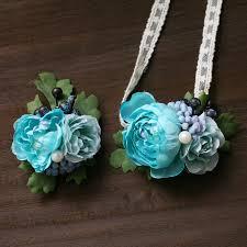 wrist corsage prices 2 pieces lot blue flowers wrist flowers wrist