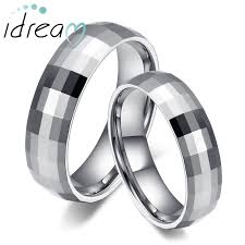 Tungsten Carbide Mens Wedding Rings by Faceted Domed Tungsten Wedding Bands Set White Tungsten Carbide