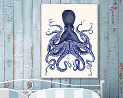 Octopus Bathroom Accessories by Coastal Home Style Art Prints By Nauticalnell On Etsy