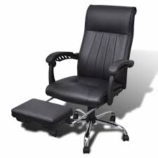 black artificial leather office chair with adjustable footrest