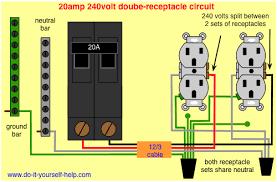 wiring 20 amp double receptacle circuit breaker 120 volt circuit