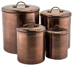 stainless steel kitchen canister hammered copper 4 canister set transitional kitchen