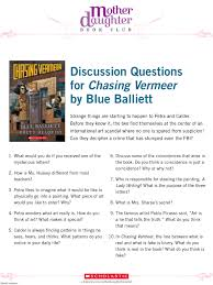 discussion questions for chasing vermeer by blue balliett mother