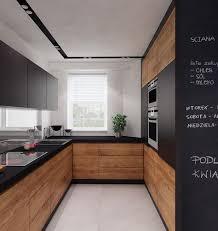 k che uform küche in u form in schwarz unf mitteldunklem holz wohnen