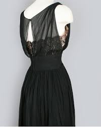 1950 60 U0027s Cocktail Dress Silk Or Rayon Sheer Over And Black