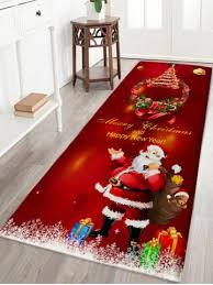 Santa Claus Rugs Dark Red W24 Inch L71 Inch Christmas Wreath Santa Claus Print