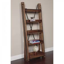Industrial Bookcase With Ladder by Furniture Inspiring Leaning Ladder Shelf For Saving Space Storage