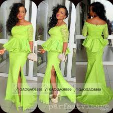 lime green lace long sleeve prom dresses with slit fashion african