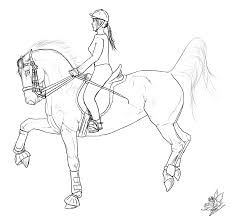 drawn horse horse riding pencil and in color drawn horse horse