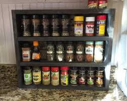 Rustic Spice Rack Kitchen Shelf Cabinet Made From Best Home Spice Rack Etsy