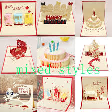 10styles mixed 3d card birthday cake 3d pop up gift greeting