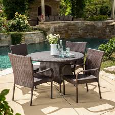 amelia outdoor 5pc multibrown wicker dining set u2013 noble house