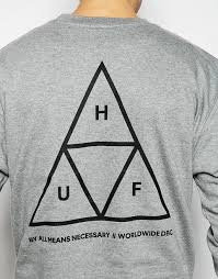 huf hoodie buy huf triple triangle sweatshirt grey men huf