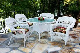 Dining Chairs With Cushions Furniture White Wicker Patio Dining Set With Round Glass Top