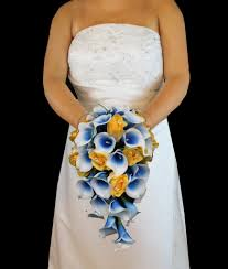 picasso calla cascading yellow blue picasso calla wedding bouquet