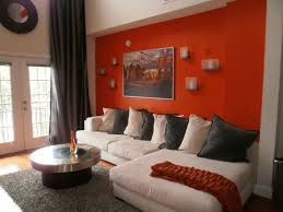 living room with orange accents