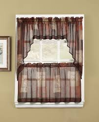 Sheer Curtains With Valance No 918 Patchwork Sheer Rod Pocket Single Curtain Valance