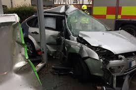 man taken to hospital after crashing into asda sign in shepshed