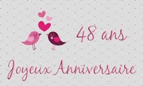 48 ans de mariage carte anniversaire mariage 48 ans oiseau coeur
