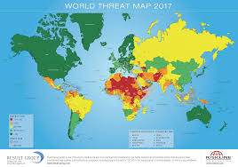 World Continents And Oceans Map by World Threat Map 2017 U2013 Riskmap Result Group Gmbh