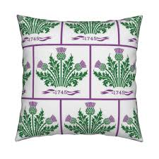 jacobite scottish thistle white bg fabric rengal spoonflower