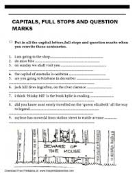 capitals full stops and question marks worksheet teaching 1st