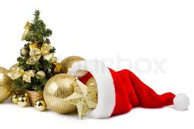 christmas tree hat golden baubles in santa claus hat and christmas tree stock photo