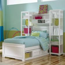 White Wall Shelves For Kids Room Furniture Charming Small Room Idea For Kids With Murphy Bed Also