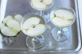 apple martini with cherry apple and elderflower martini