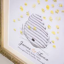 wedding register book personalised beehive wedding fingerprint guestbook by spratt