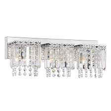 crystal bathroom vanity light fixtures evelyn 3 light crystal strand wall sconce in chrome finish