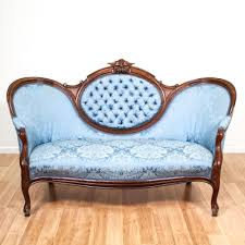 Curved Settees And Sofas by This Victorian Sofa Is Upholstered In A Durable Silk Like Blue
