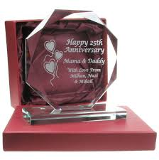 25th wedding anniversary gift ideas 40th wedding anniversary gift engraved presentation cut glass