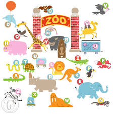 full colour animal alphabet kids wall decal bedroom educational zoo escape