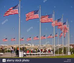Washington Dc Flag Washington Dc Usa Tourists United States Flags Flying On Flagpoles