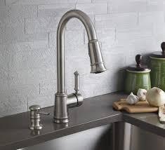 moen kitchen faucet with soap dispenser moen 87012srs lindley single handle pullout kitchen faucet with soap