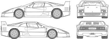 car ferrari drawing the blueprints com blueprints u003e cars u003e ferrari u003e ferrari f40 1988