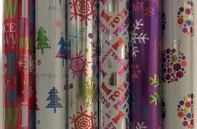 purple foil wrapping paper with snowflakes