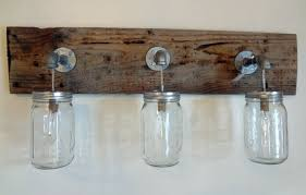 Rustic Shabby Chic Barn Wood Mason Jar Hanging By Thepinktoolbox Shabby Chic Bathroom Light Fixtures