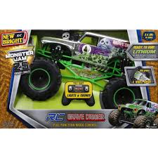 toy monster jam trucks for sale new bright r c f f 12 8 volt 1 8 monster jam grave digger chrome