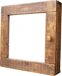 bathroom solid wood rustic wall mirror design for bathroom