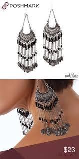 Black Bead Earrings Bronze Chandelier Handmade Boho Hippie Festive Green Black Beads Chandelier Bronze