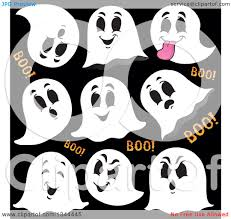 vector ghosts clipart of cartoon halloween ghosts saying boo royalty free