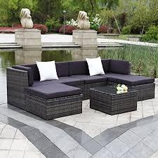 ikayaa outdoor patio garden furniture sofa set 7pcs cushioned