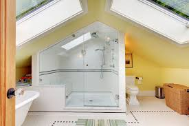 Attic Bathroom Ideas Relaxing Attic Space Featuring Half Circle Window And Exposed