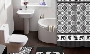 elephant parade 15 piece shower curtain and bath rug set groupon