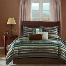 Blue Striped Comforter Set Beautiful Cozy Lodge Cabin Rustic Blue Brown Country Stripe