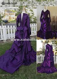 Ball Gown Halloween Costume Brand 19th Century Purple Vintage Victorian Gothic French
